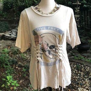 Express skull corset T-shirt